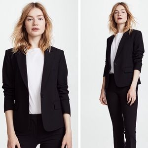 Theory Black Wool Career Button Lined Blazer 10